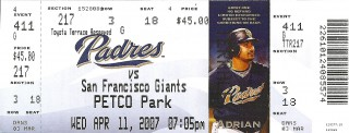 Giants at Padres 2007 stub