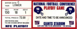 New York Giants Playoffs Giant Stadium stub