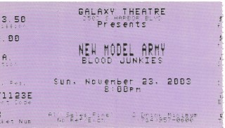 New Model Army Blood Junkies Galaxy Theatre 2003 stub