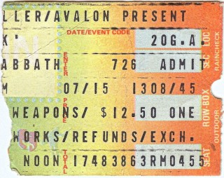 Black Sabbath ticket stub