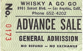 Fear Flesheaters at Whisky A Go Go 1982 stub