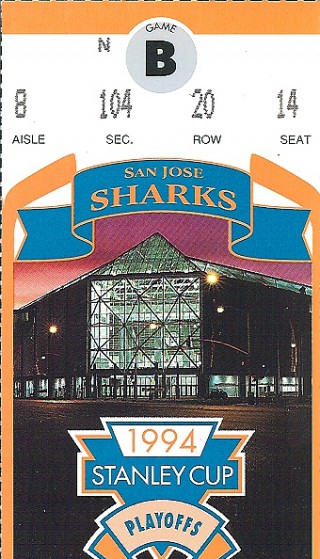 San Jose Sharks playoffs 1994 Game B stub