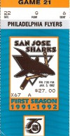 1992 NHL Flyers at Sharks