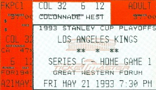 Maple-leafs Kings 1993 Conference Finals stub