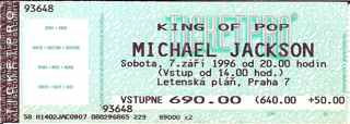 Michael Jackson ticket stub Prague 1996