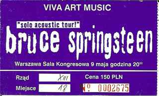 1997 Bruce Springsteen ticket stub from Warsaw Poland