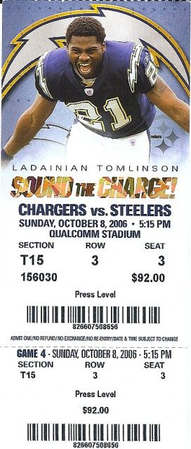 Steelers at Chargers 2006  stub