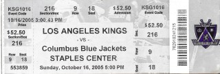 Blue Jackets at Kings 2005 stub