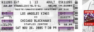 Blackhawks at Kings 2005 stub