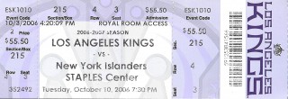 Islanders at Kings 2006 stub