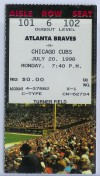 1998 Cubs at Braves ticket stub Andruw Jones Career HR 37