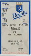 Pujols HR Cardinals at Royals 2001 stub