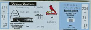 Pujols HR Padres at Cardinals 2001 stub