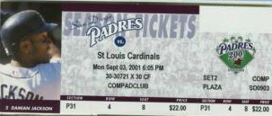 Pujols HR Cardinals at Padres 2001 stub