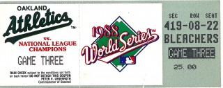 1988 World Series Game 3 ticket stub Athletics vs Dodgers