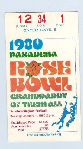 1980 Rose Bowl USC Ohio State stub