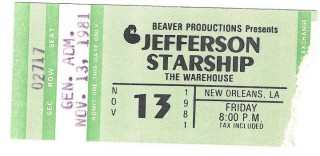 Jefferson Starship 1981 New Orleans stub