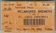 Cardinals at Brewers 2002 stub