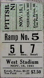 Pittsburgh at Nebraska 1941 stub