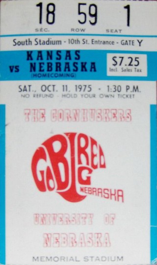 Kansas at Nebraska 1975 stub