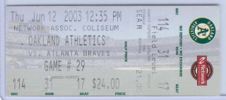 Braves at A's Andruw Jones HR 2003 stub