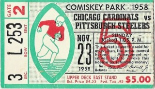Pittsburgh Steelers vs. Chicago Cardinals, 1958 stub