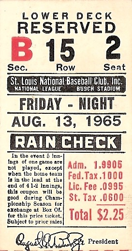 Cincinnati Reds vs. St. Louis Cardinals. 1965 stub
