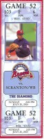 2003 Richmond Braves ticket stub vs Scranton