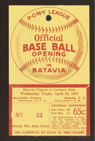 1947 Batavia Clippers Die Cut Opening Day ticket stub