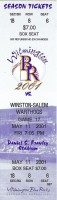 2001 Wilmington Blue Rocks ticket vs Winston-Salem Warthogs