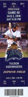 2008 New Orleans Zephyrs ticket stub vs Tucson Sidewinders