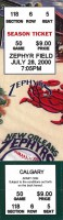 2000 New Orleans Zephyrs ticket stub vs Calgary Cannons