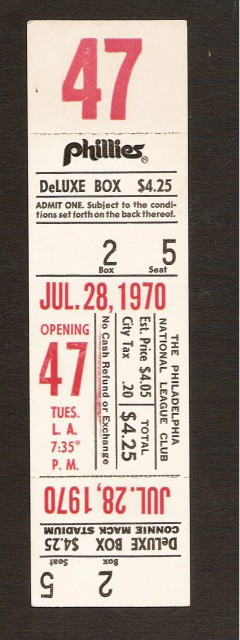 Dodgers at Phillies 7-28-70