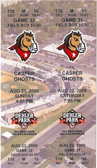 2009 Billings Mustangs season ticket vs Casper Ghosts