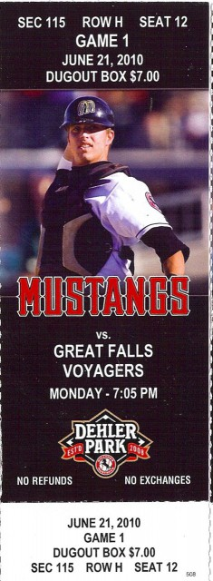 Voyagers at Mustangs 2010 stub