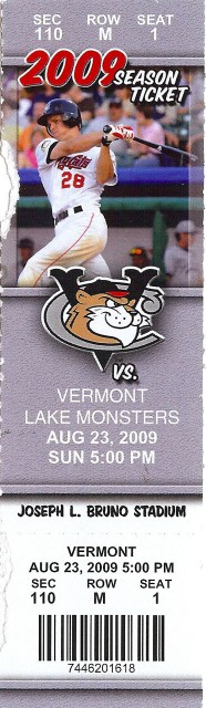 Vermont Lake Monsters at Tri-City ValleyCats 2010 stub