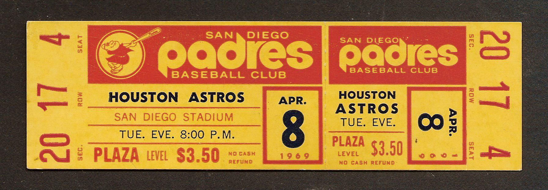 Astros at Padres 4-8-69 Opening Day stub