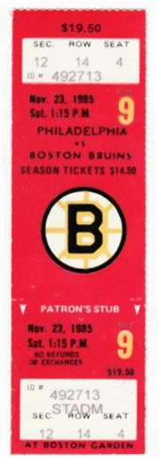 Flyers at Bruins 1985 stub