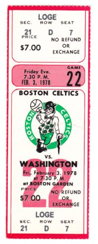 Bullets at Celtics 1978 stub