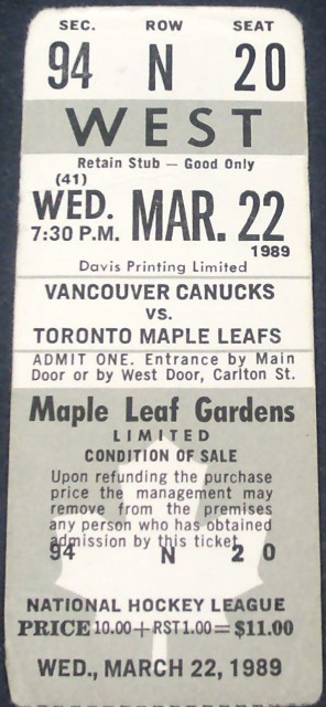 Canucks at Leafs 1989 stub