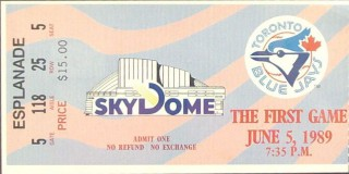 Brewers at Blue Jays 1989 1st Game at Skydome stub