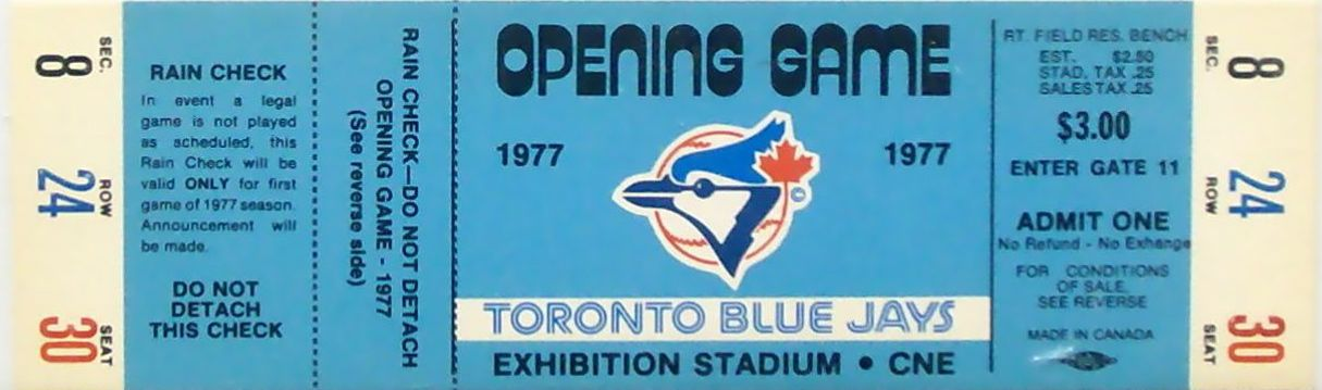 Toronto Blue Jays Ticket Stubs