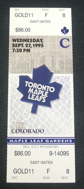 Avalanche at Maple Leafs 1995 stub