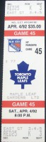 Rangers at Maple Leafs 1992