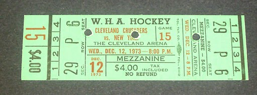 1973 WHA Cleveland Crusaders ticket stub vs New York