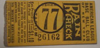 Vintage 1927 Yankees Gehrig, Ruth Home Run stub