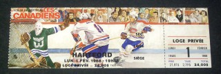 Whalers at Canadiens 1988 stub