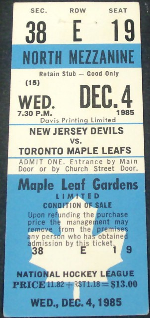 Devils at Maple Leafs 1985 stub