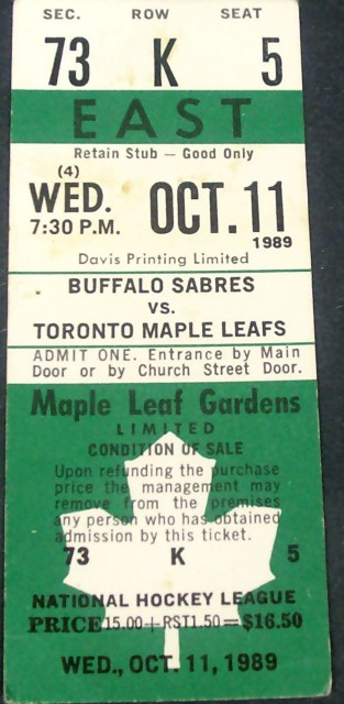 Sabres at Maple Leafs 1989 stub