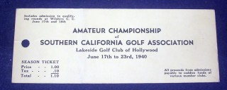 1940 Amateur Golf Wilshire Country Club
